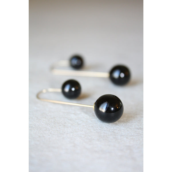 Black double pearl stud Earrings