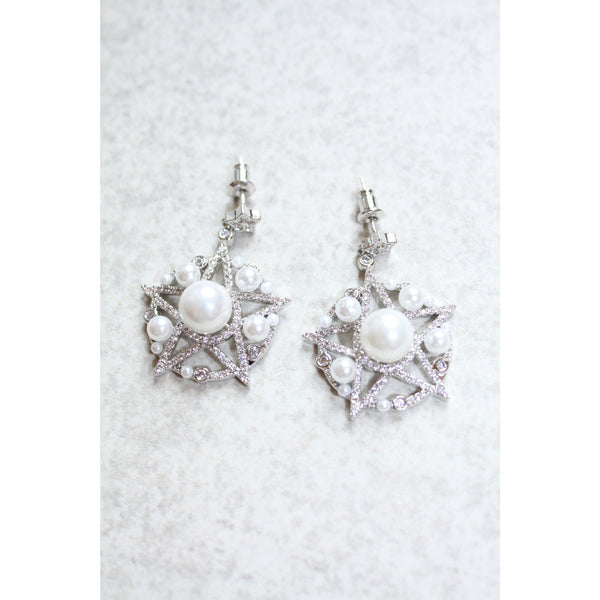 Cubic Zircon and Pearl Star Earrings