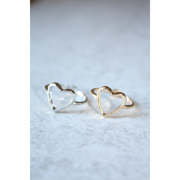 Open Heart Ring Gold or Silver - Love Ring - Heart