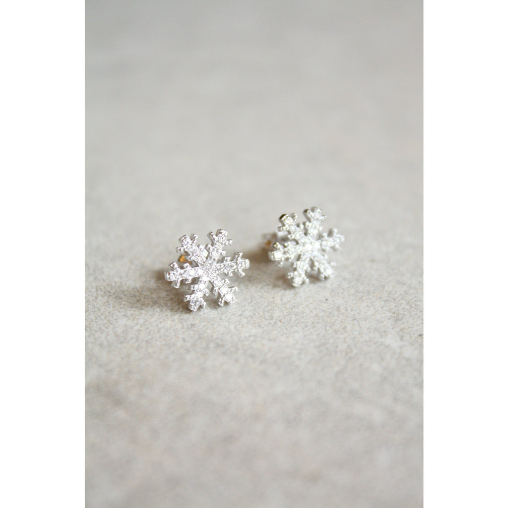 Snowflake 925 sterling silver zircon stud earrings - Susy de Marchi Jewelry