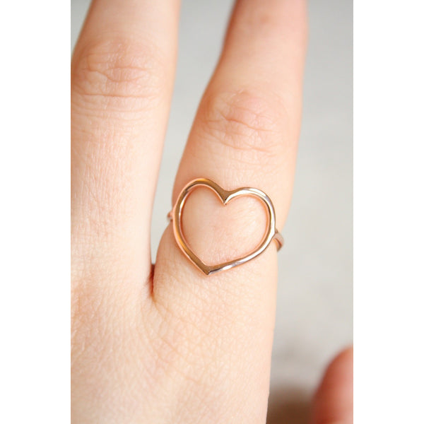 Ring in Sterling Silver 925 open heart rose Gold Plated  18k - Susy de Marchi Jewelry
