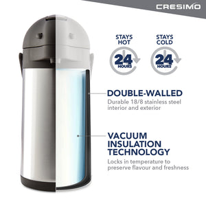 Cresimo 74 Oz (2.2L) Stainless Steel Thermal Airpot