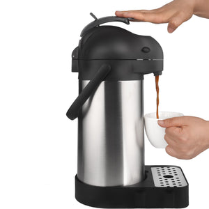 74 Oz (2.2L) Airpot Thermal Coffee Carafe with Drip Tray & Cleaning Brush