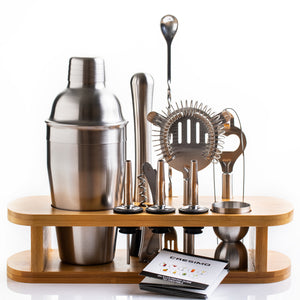 12 Piece Cocktail Shaker Bar Set w/ Bamboo Stand