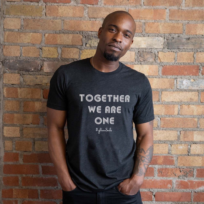 Black short sleeve t-shirt with Together We Are One in White