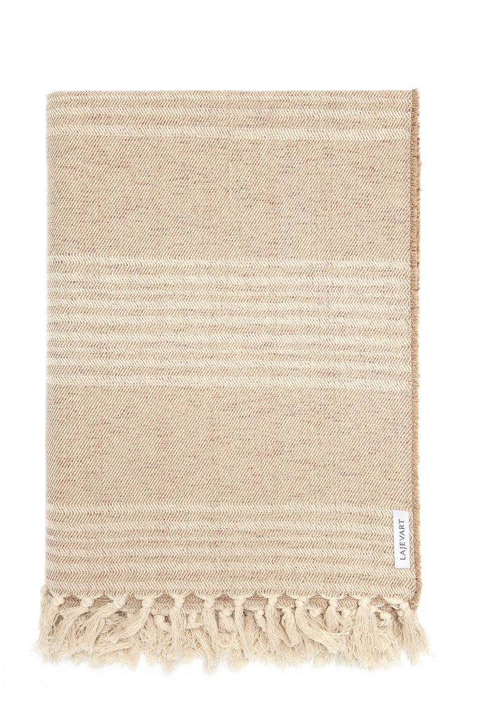 Blanket - Light Brown with Metallic Bronze