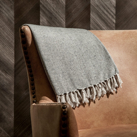 Herringbone Grey Throw