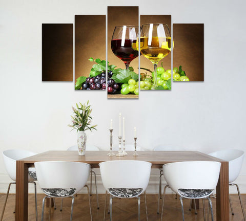 Wine Glasses 5 Piece Wall Art Painting On Canvas