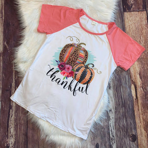 Thankful Leopard Pumpkin Mom Tee