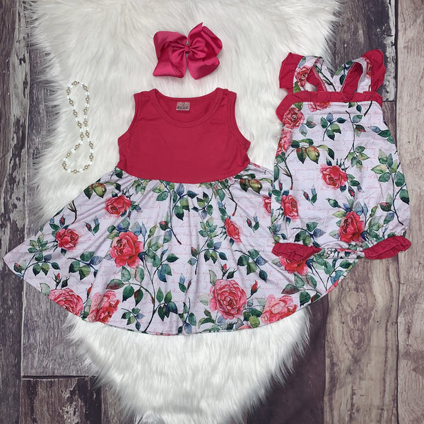 Pink Roses Ruffle Bubble Romper