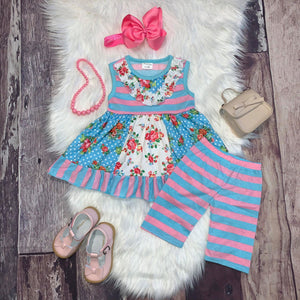 Blue and Pink Stripe Tunic and Capri Set