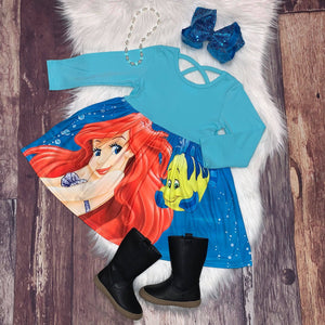 Princess Mid-Twirl Long Sleeve Ariel & Flounder Dress