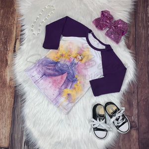 Watercolor Fairy Tale Princess Raglan - Rapunzel