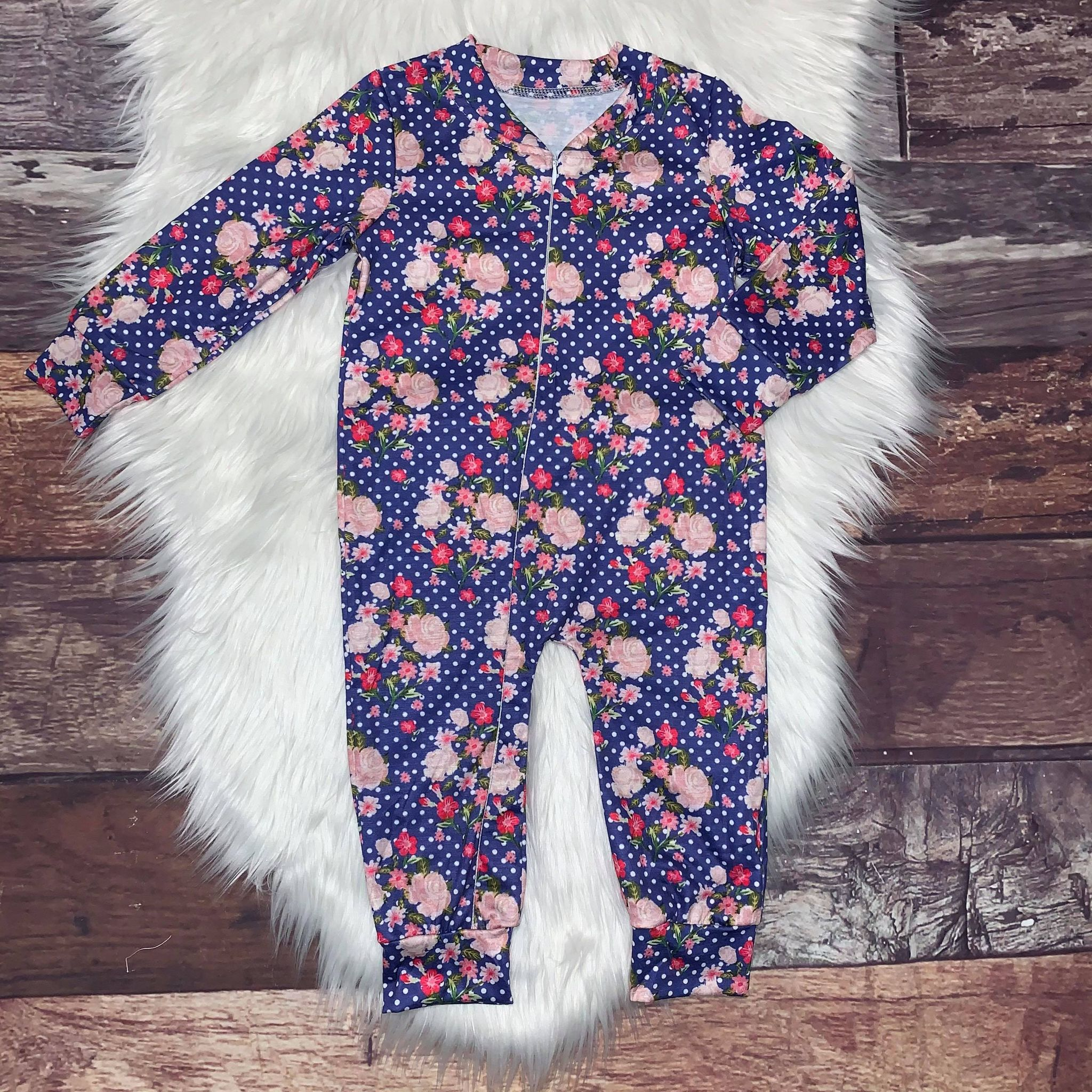 Zip-Up Romper Blue Floral Polka Dot