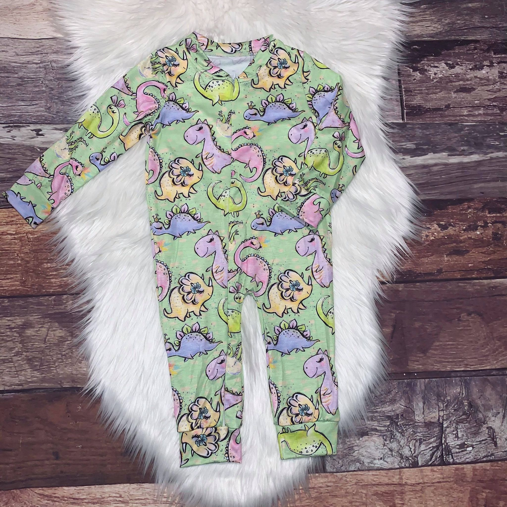 Zip-Up Romper Dinosaur Girl