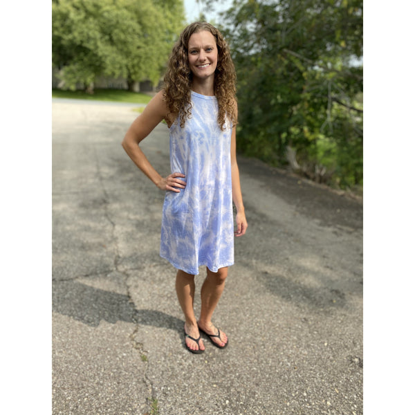 Blue White Tie Dye Dress