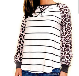 Stripe with Leopard Sleeve - RTS