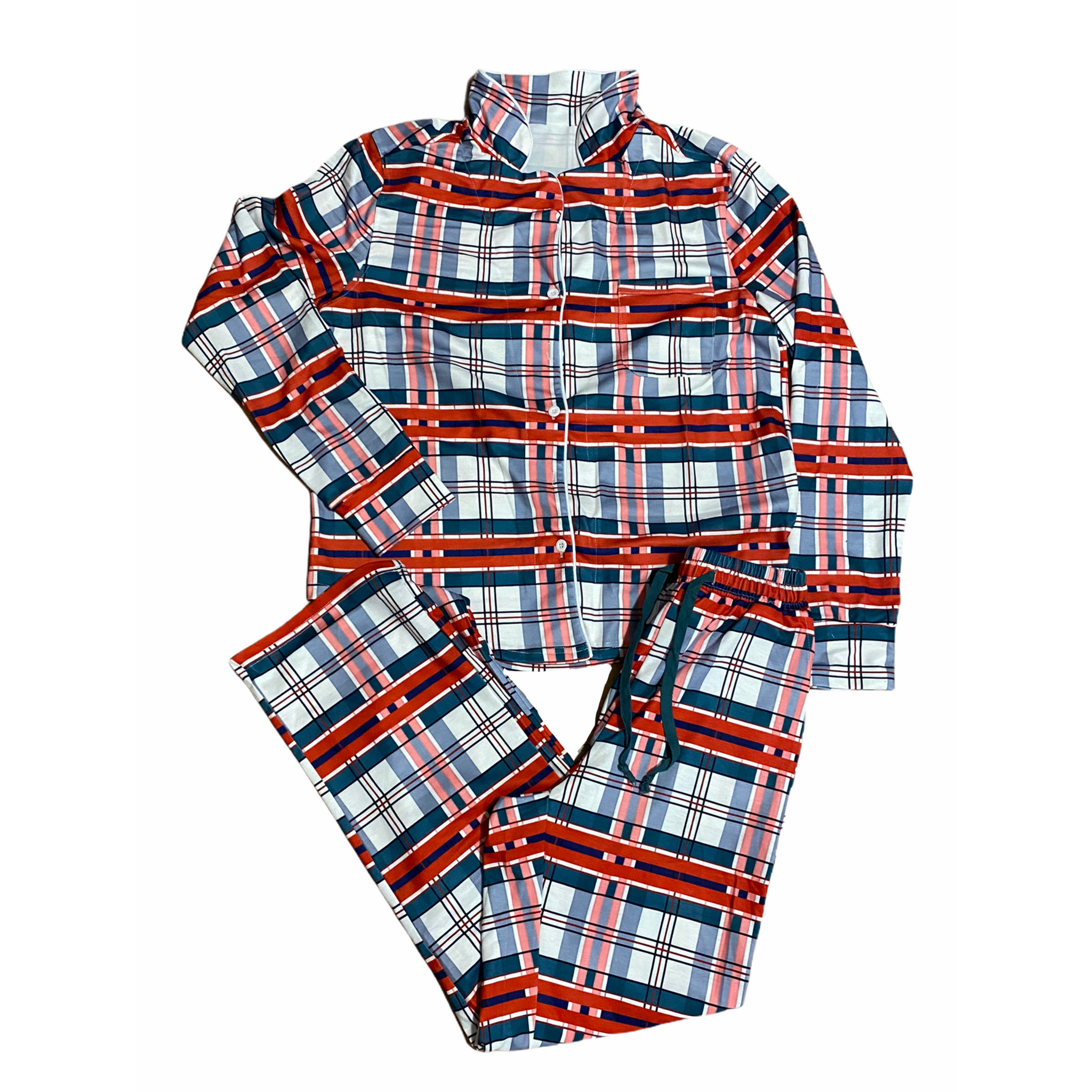 Plaid Button Up Holiday Lounge PJ Set - RTS
