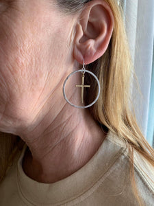 Encircled Cross Earrings