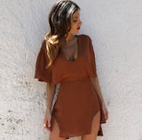 Ray Wrap Dress in Brown Sugar