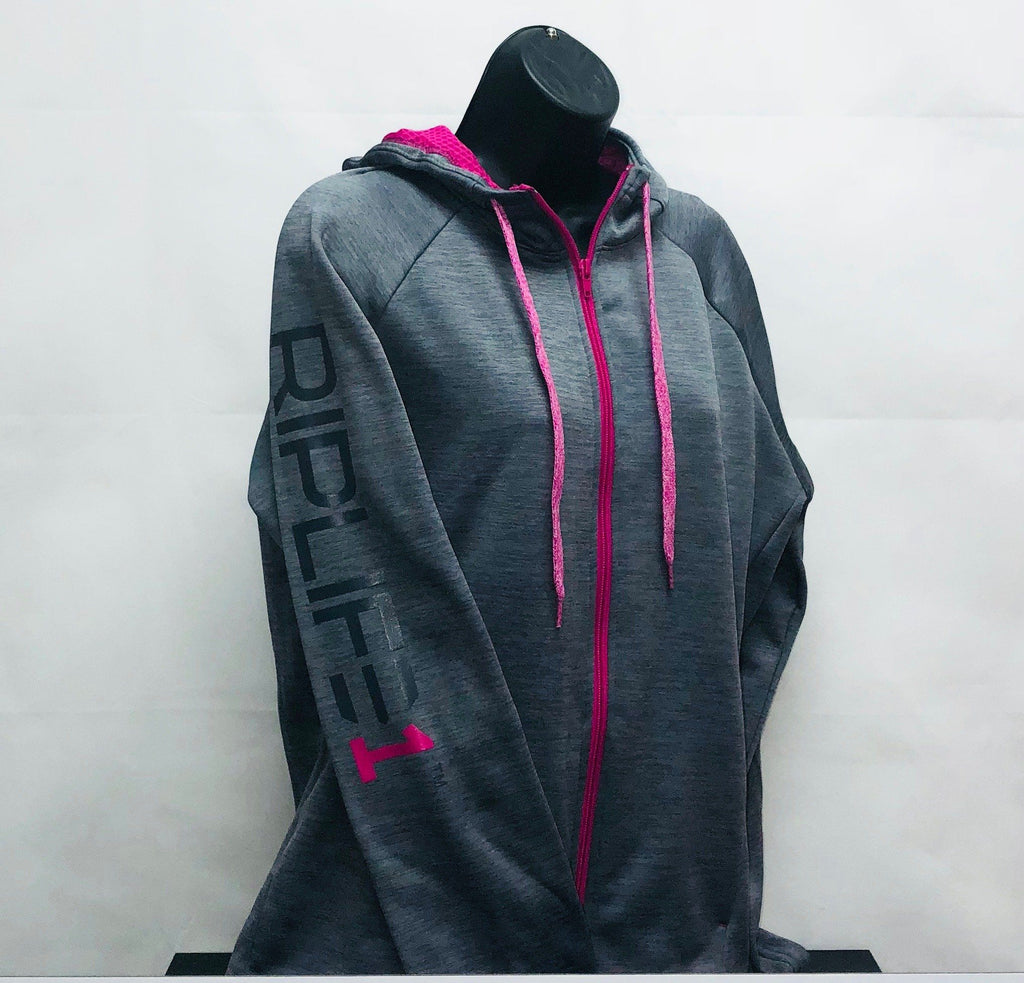 Performance Hoodie - HEATHER GREY and PINK - RIPLIFE1