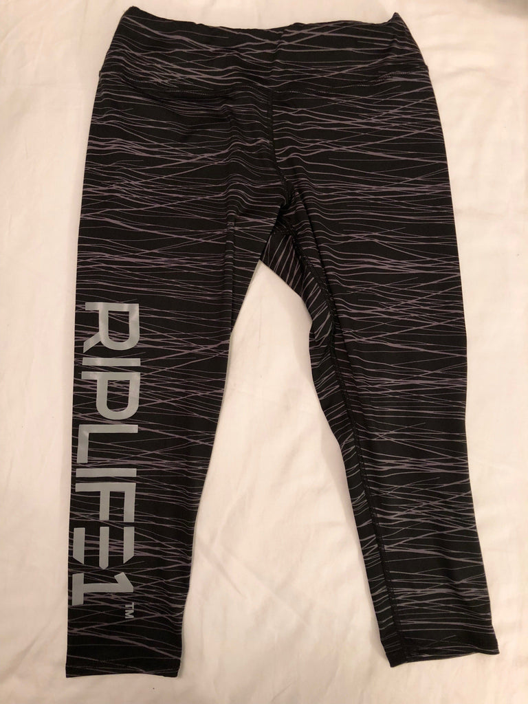 Womens Athletic Capris- Black Graphite Lines - Grey- RIPLIFE1 - RIPLIFE1