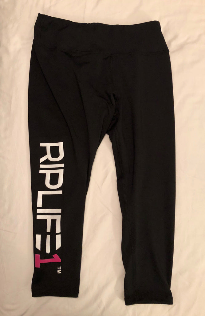Womens Athletic Capris- Black with White and Pink RIPLIFE1 - RIPLIFE1