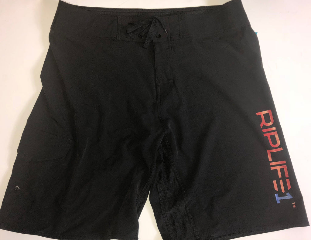 Mens Board Shorts - Black - Red RIPLIFE Blue 1 - RIPLIFE1