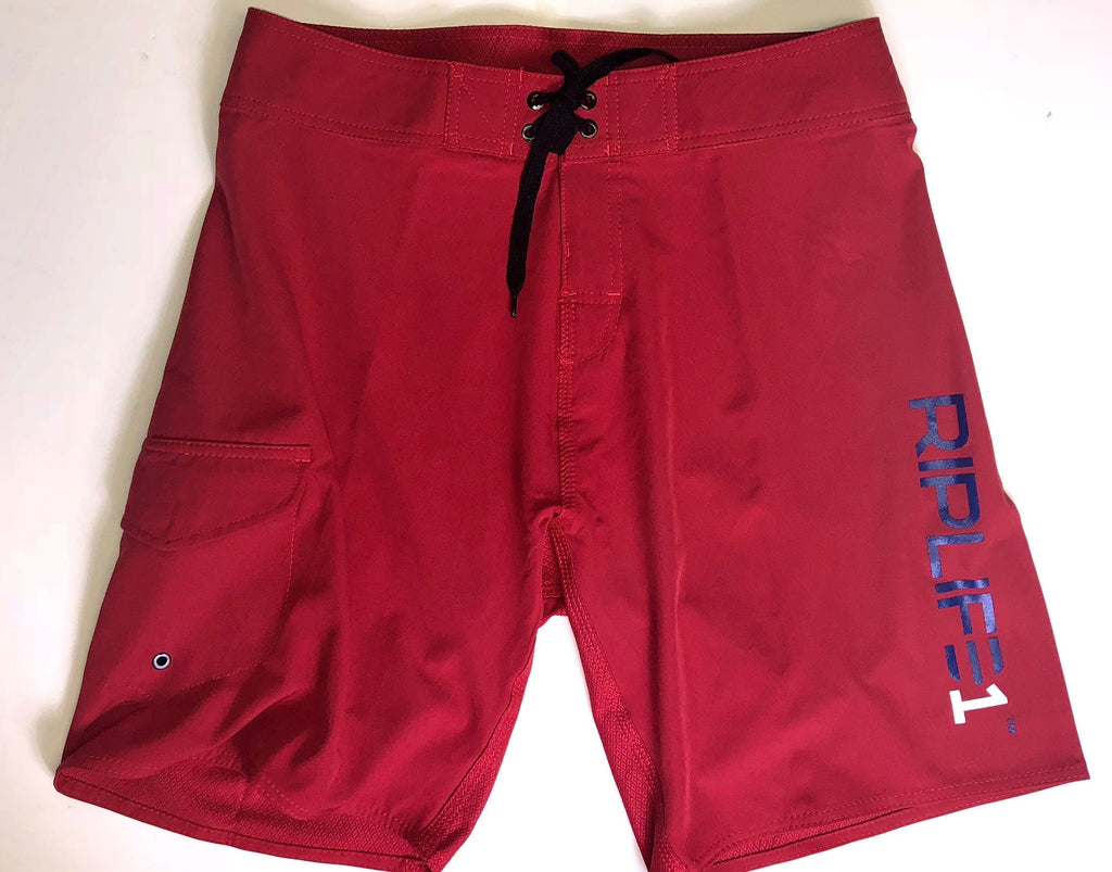 Mens Board Shorts - RED-Blue  RIPLIFE White  1 - RIPLIFE1