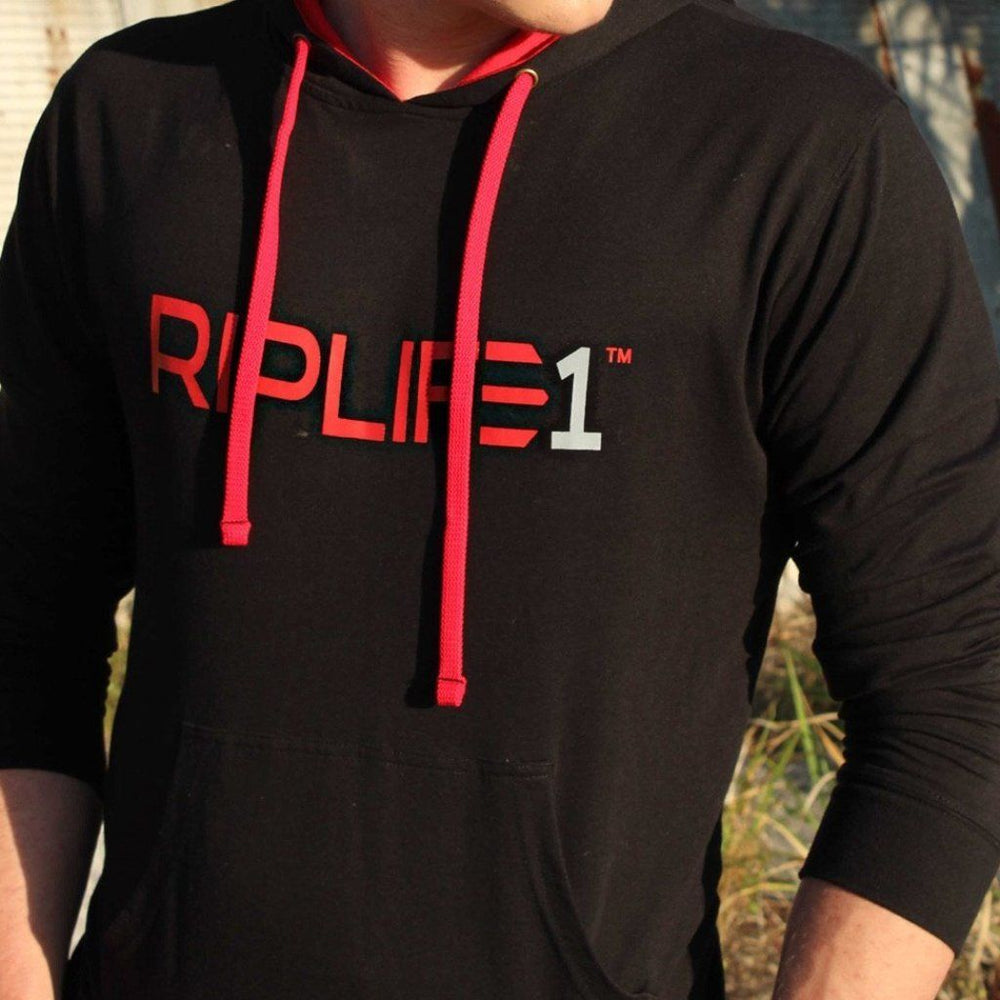 Workout Hoodie - Black/ Red with Grey1