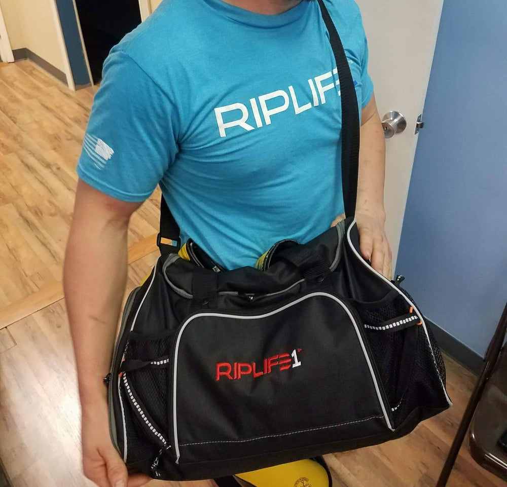 GYM BAG - Black with grey/white trim - RIPLIFE1