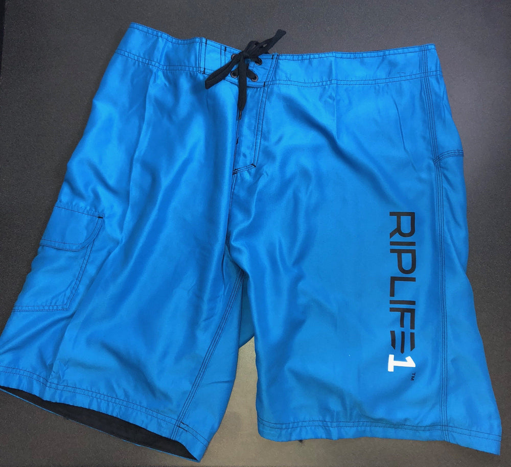 Mens Board Shorts - Cali Blue- Black  RIPLIFE White  1 - RIPLIFE1