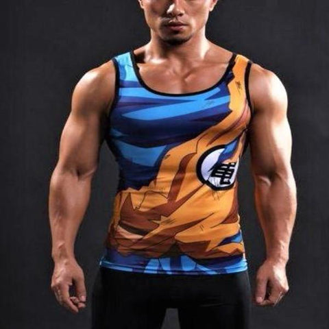Goku Battle Torn Gi Compression Tank Top