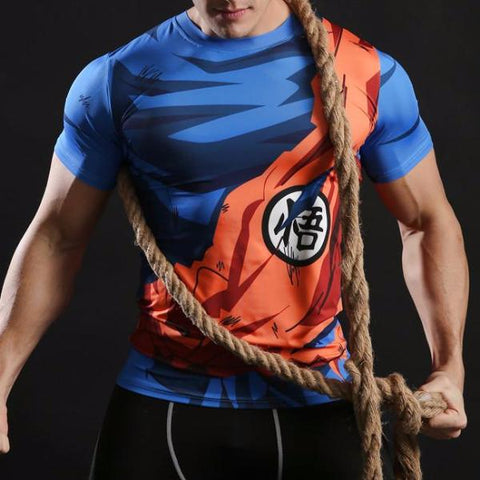 Goku Battle Torn Gi Compression Shirt