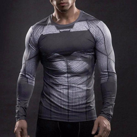 Super Hero Shirt - Batman Long Sleeve Compression Shirt