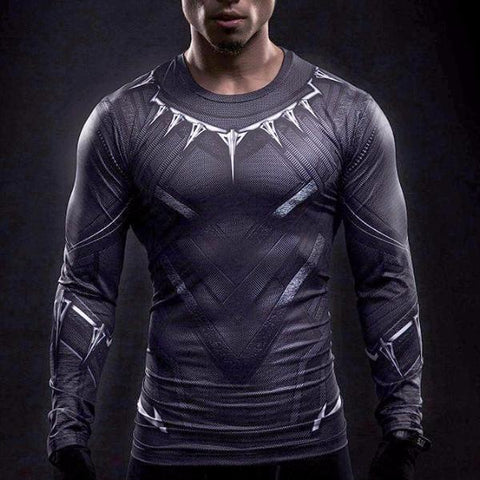 Super Hero Shirt - Black Panther Long Sleeve Compression Shirt