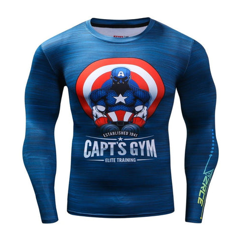 Super Hero Shirt - Captain America Capt's Gym Long Sleeve Compression Shirt