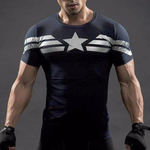 Super Hero Shirt - Captain America Compression Shirt