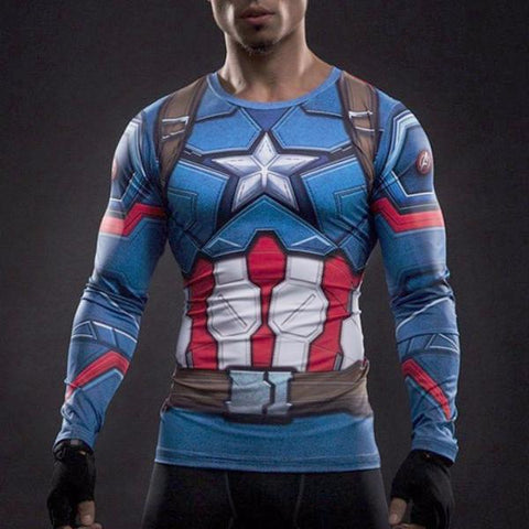 Super Hero Shirt - Captain America Long Sleeve Compression Shirt