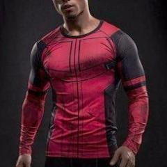 Super Hero Shirt - Deadpool Long Sleeve Compression Shirt