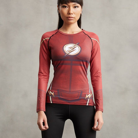 Super Hero Shirt - Flash Women's Long Sleeve Compression Tee