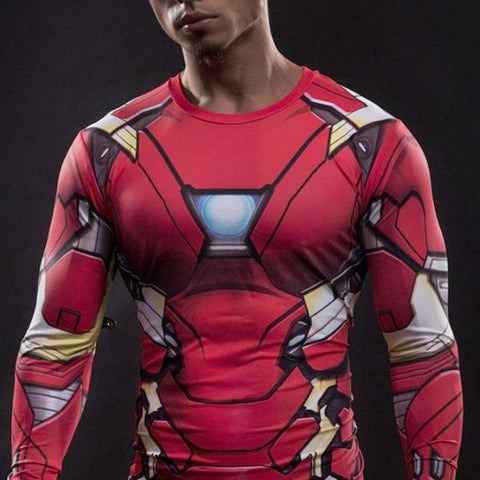 Super Hero Shirt - Iron Man Long Sleeve Compression Shirt