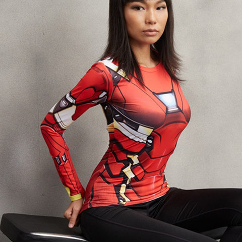 Super Hero Shirt - Iron Man MK46 Long Sleeve Women's Compression Tee