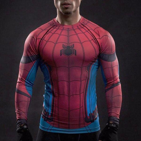 Super Hero Shirt - Spider Man Long Sleeve Compression Shirt
