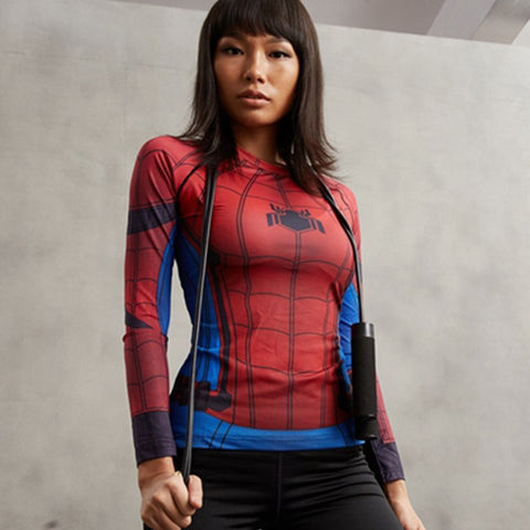 Super Hero Shirt - Spider Man Women's Long Sleeve Compression Tee