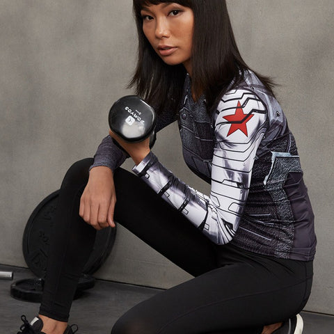 Super Hero Shirt - Winter Soldier Long Sleeve Women's Compression Tee