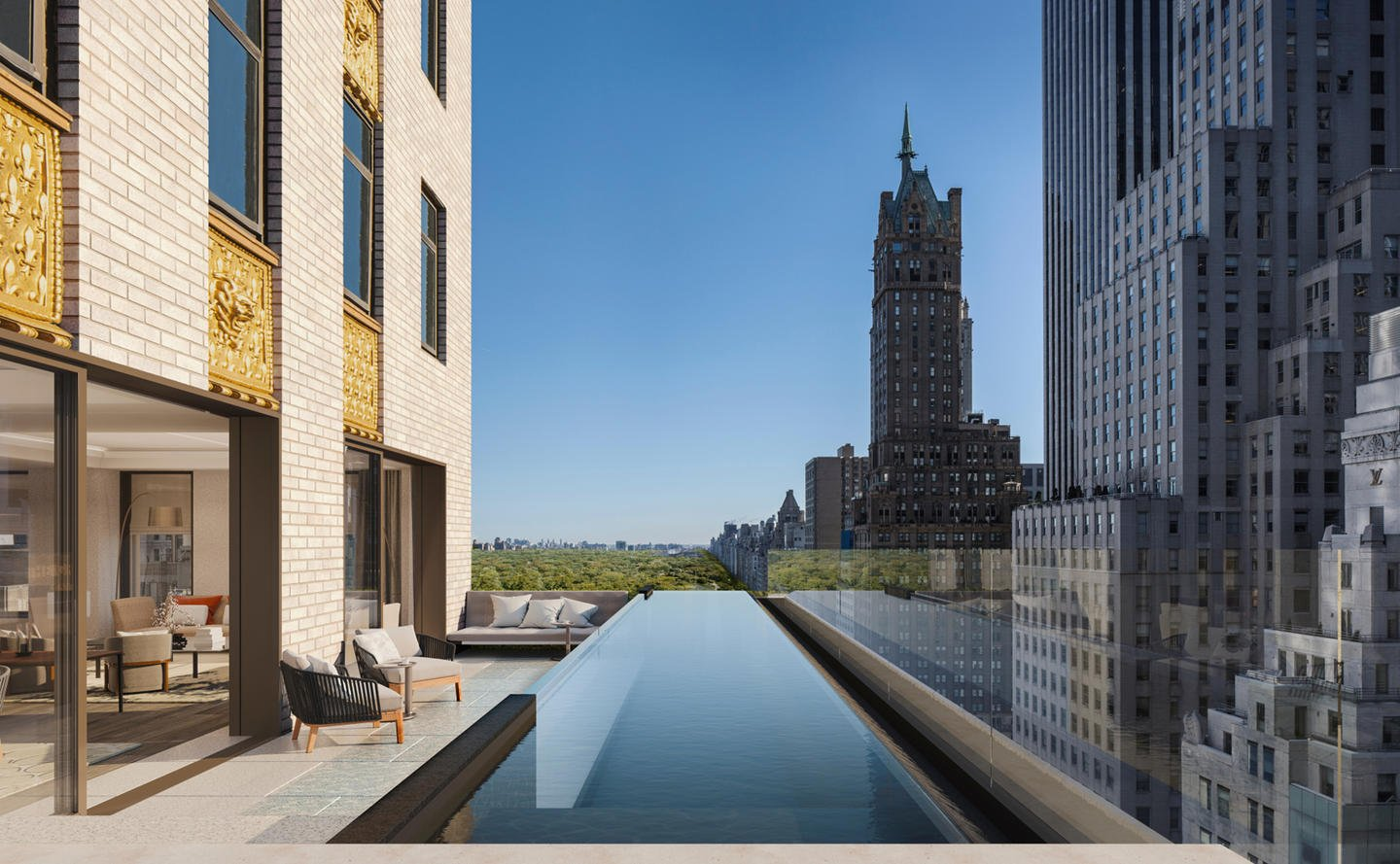 View of New York City from room Aman Hotel New York which is flanked by a pool.
