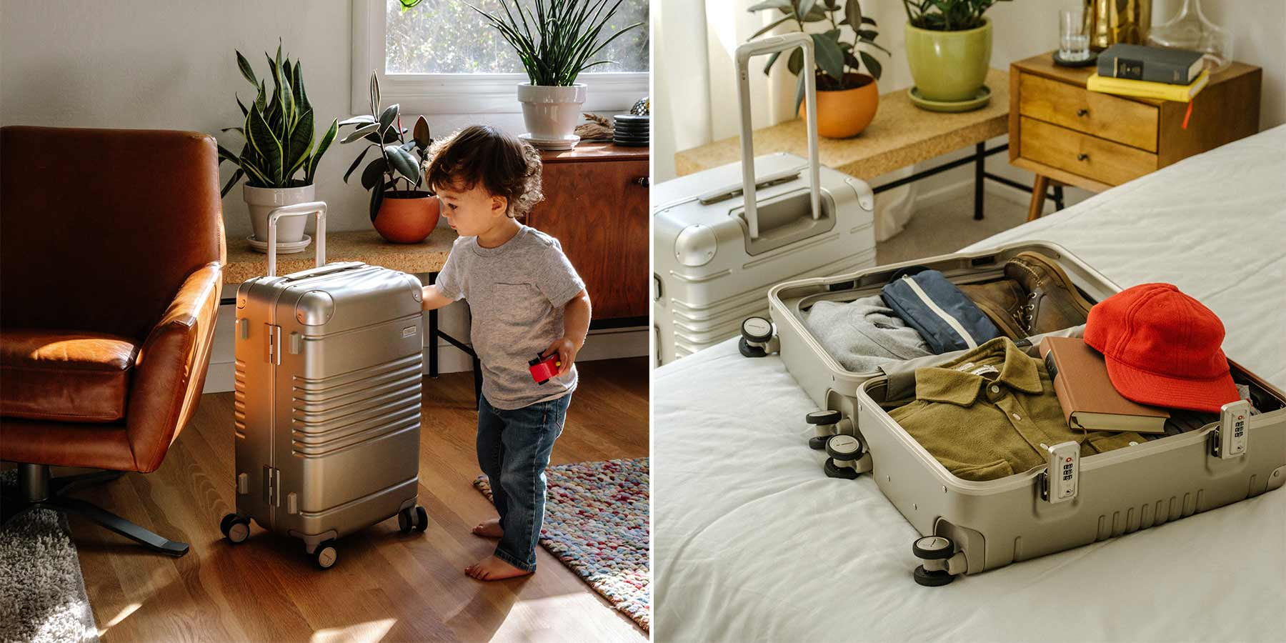 On the left side a child is playing with frame carry-on in champagne and on the right side a open frame carry-on in champagne is fully packed on bed.