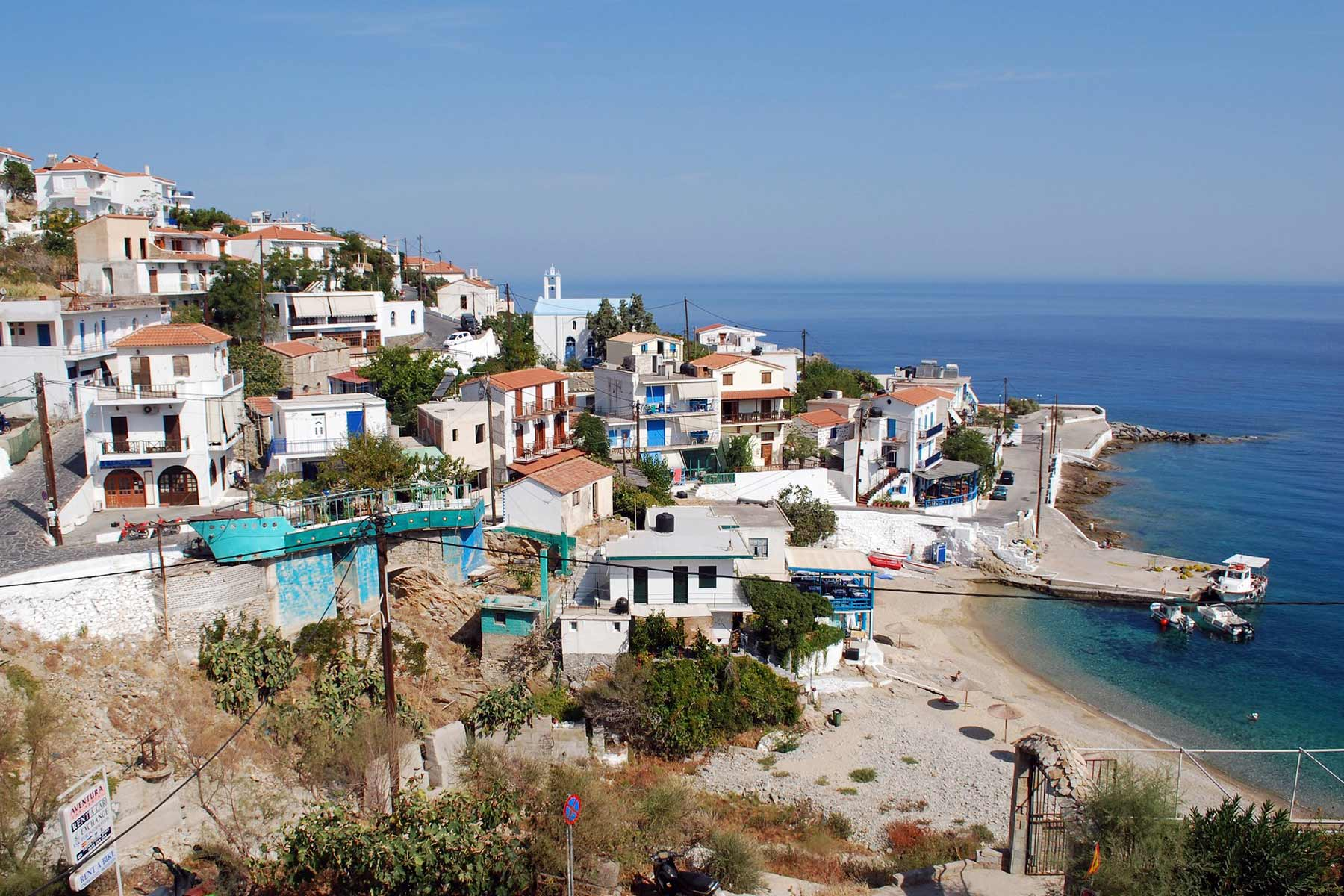 City and coastline view of Ikaria Island in Greece