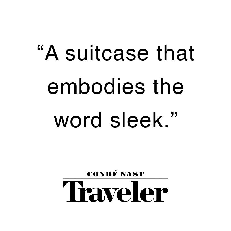 "Arlo Skye was featured in Conde Nast Traveler. The quote from Conde Nast Traveler is ""A suitcase that embodies the word sleek"""